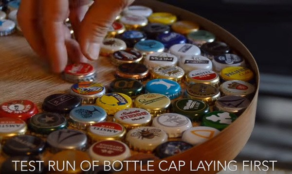Testing the layout for bottle cap project